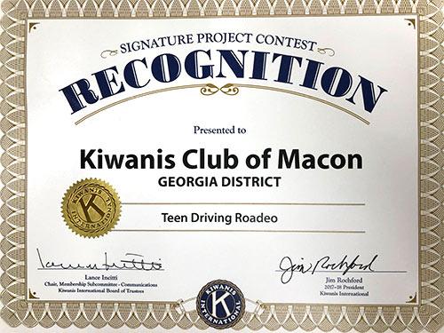 Teen Driving Roadeo by the Kiwanis Club of Macon, Georgia